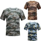 Mens Short Sleeve Military T-Shirt Camouflage Camo Slim Fit Army Combat Tops Tee image