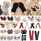 Women Fingerless Knit Gloves Fur Leather Cotton Small Paw Warmer Wool Mittens