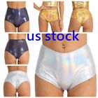 US Women's Shiny Metallic Hologram High Waisted Booty Shorts Rave Dance Panties