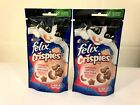 Felix tasty CRISPIES CAT TREATS flavoured with Salmon & Trout x 2 (45g Packs)