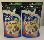 Felix tasty CRISPIES CAT TREATS flavoured with Beef x Chicken  x 2 (45g Packs)
