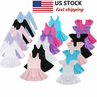 US Girls Gymnastics Ballet Dress Toddlers Leotards Tutu Skirt Dancewear Costumes