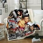 Fashion Stars Elvis Presley 3D Print Sherpa Blanket Sofa Couch Quilt Cover Throw