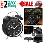 Alarm Clock With Stereoscopic Dial Vintage Twin Bell Backlight Analog Black 4
