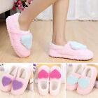 Winter Womens Girls Indoor Slippers Fleece Warm Heart Print Soft Antiskid Shoes