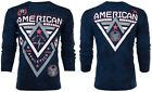 AMERICAN FIGHTER Mens LONG SLEEVE T-Shirt ALASKA PATTERN Elephant Print NAVY $54 image