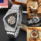 Men Mechanical Watch Skeleton Triangle Dial Automatic Luxury Steel Case Digital image