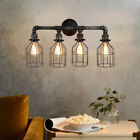 Industrial 4-Light Water Pipe Cage Wall Light Sconce Rustic Steampunk Wall Lamp