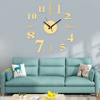 Large Wall Clock 3D Sticker Roman Numeral Mirror Watch DIY Wall Modern Art Decor