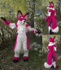 Halloween Sexy Fursuit Long Fur Red Husky Mascot Costume Adult Wolf Fox Dog