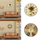 Retro Wooden Wall Clock Farmhouse Decor Silent Non Ticking Clocks