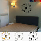 3D Large Number Mirror Wall Sticker Big Watch Home Office Decor Acrylic Clock