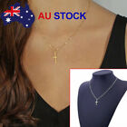 New Simple Cross Pendant Charm Gold Silver Necklace Chain Women Fashion Jewelry