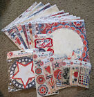 Bo Bunny 12x12 Scrapbook Paper Stickers Jewels Chipboard Liberty 4th of July