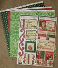 Bo Bunny 12x12 Scrapbook Paper St Nick Christmas Stocking Sticker 2 sheets