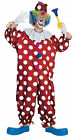 Dotted Clown Adult Costume Halloween Classic Circus Polka Dots Jumpsuit Hat Red