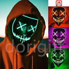 3-Modes LED Mask Cosplay Costume Light Up Scary Halloween Party Purge Wire Decor