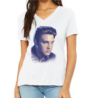 Women's soft cotton white T-shirt v-neck with Elvis Presley image in colors.