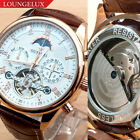 OUYAWEI Mens Flywheel Leather Luxury Skeleton Automatic Mechanical Wrist Watch image
