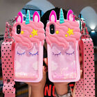 3D Cartoon Dynamic Glitter Quicksand Unicorn Strap Case Cover For Various Phone