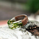 Handmade Wooden Resin Plant Ring Nature Flower Grass Ring Wood Ring Gift image