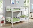 Natural Pine or White Single 3FT Kids Bunk Bed Wooden Frame with Mattress Option