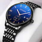 Men's Date Analog Luminous 50M Waterproof Stainless Steel Quartz Wrist Watch US image