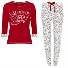 Ladies Womens Long Sleeve Christmas Xmas PJs Pyjamas Set Long Bottoms Size 14 16