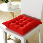 4 x SQUARE SEAT PAD DINING ROOM GARDEN KITCHEN CHAIR CUSHIONS WITH TIES ON THICK