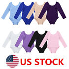 US Girls Kids Gymnastics Ballet Dance Long Sleeve Leotards Sports Suit Costume