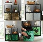 Reversible Sequin Collapsible Storage Cube Bins Basket Box Home H28 xW27 xD27cm