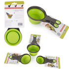 Folding Silicone Pet Dog Sealing Clip Collapsible Measuring Cup Food Scoop UK