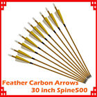 "Feather Pure Carbon Arrows 30"" Wood Camo Shaft SP500 Archery Bow Target Shooting"