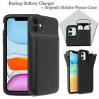 For iPhone 11 Pro Max Battery Charger Power Bank + Airpods Earphone Holder Case