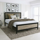 Kyпить Queen/FULL Size Retro Style Metal Platform Bed Frame Wood Headboard & Footboard на еВаy.соm