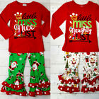 Christmas Kids Baby Girls Xmas Long Sleeve Ruffle Letter Tops+Pants Outfit Sets
