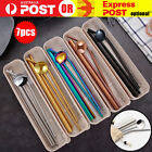 7pcs Reusable Metal Stainless Steel Straws Drinking Straw Spoon Set With Brush