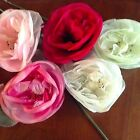 "Vintage Millinery Flower Rose 6"" Choose White Ivory Pink + Rosy Red for Hat Y265"