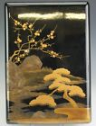 Vintage Japanese Gold Silver Lacquer Landscape Black Document Paper Box NR SMS