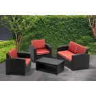 Mcombo 5pcs Patio Outdoor Furniture Set Plastic Charcoal Wicker Pattern Sofa 700
