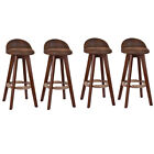 Set of 2/4 Wooden Swivel Low Back Revolving Bar Stools Counter Dining Pub Chair