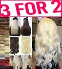 3FOR2 Hair Extension Half Head 1pc Curly Straight feels real Brown Red Blonde