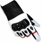 Men Motorcycle Protective Premium Leather Street Cruiser White Biker Gloves