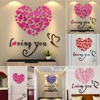 Love Hearts Arcylic 3d Wall Stickers Decal Home Living Room Decor Valentine