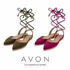 AVON Ladies Womens Flat Espadrille Shoes Pumps Ankle Tie Back Size 5 6 7
