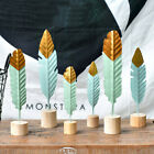 PW_ CO_ Nordic Modern Metal Wooden Feather Pen Sculpture Home Table Ornament N image