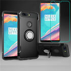 For OnePlus 5T Ring Stand Holder Shockproof Rugged Case Cover+Tempered Glass