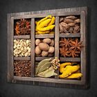 WOODEN BOX OF SPICES KITCHEN DESIGN CANVAS WALL ART PICTURE PRINT READY TO HANG