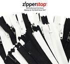WHOLESALE 100pcs YKK zippers ykk #3 Nylon Coil Skirt- Dress Color Black or White