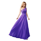 Woman One Shoulder Chiffon lace top Prom Party Evening Wedding Dreses-UK